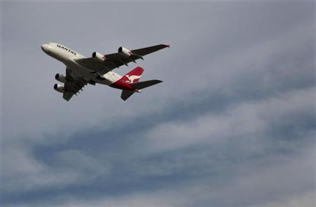 Qantas Airways flight QF31, an Airbus A380 bound for Singapore and London, takes off from Sydney airport November 27, 2010.  Credit: Reuters/Tim Wimborne